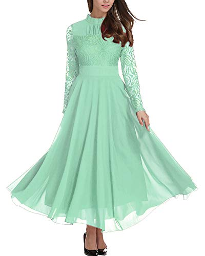 - Aofur Women's Long Sleeve Chiffon Maxi Dresses Casual Floral Lace Evening Cocktail Party Long Dress (Small, Light Green)