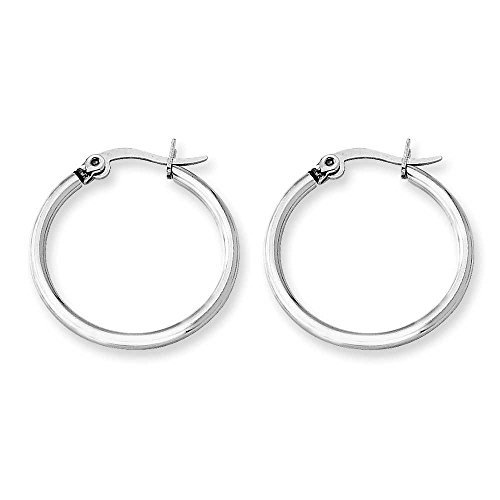 Back Hoop Earrings (2mm Sterling Silver Hoop Earrings (15mm 18mm 22mm 25mm 30mm) (22 Millimeters))