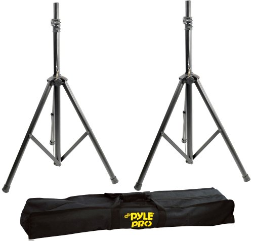 (Pyle Stage & Studio DJ Speaker Stands - Pro Audio PA Loudspeaker Stand Kit with Storage Bag, Height Adjustable, Pair, 8'+ ft. Extra Tall (PSTK103) )