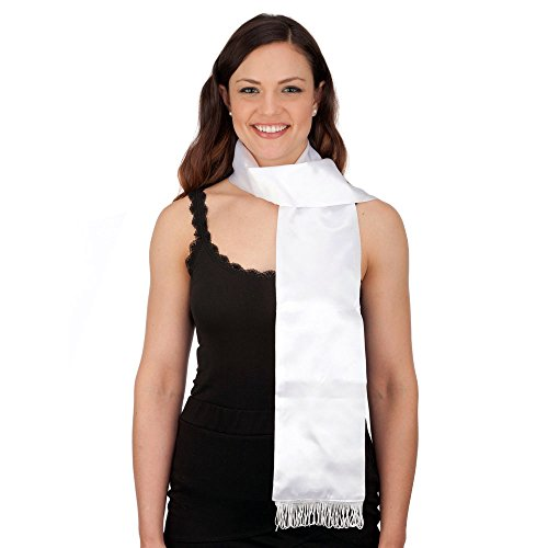 Jacobson Hat Company White Satin Aviator Scarf,One Size