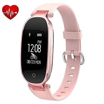 Pulsera de actividad bluetooth para mujer con reloj, podómetro, sensor de ritmo