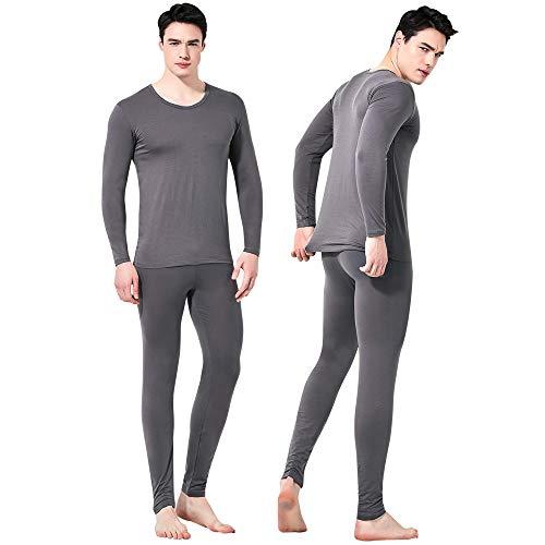Giam Vico2 Feelvery Men's Natural Soft Tencel Long Johns Top & Bottom Thermal Underwear Set (Small, Grey)