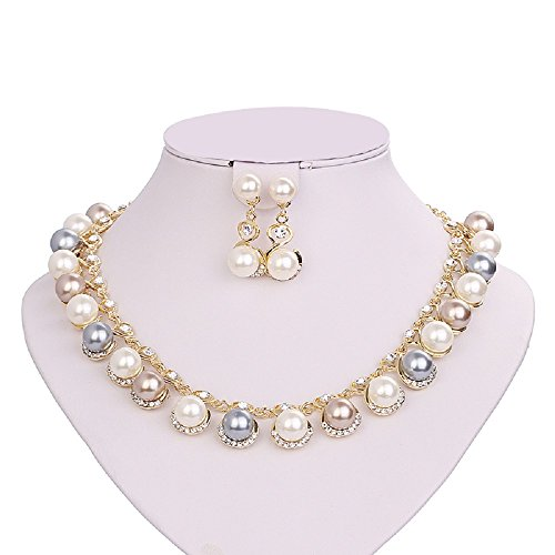 Curve Beads - Moochi 18K Gold Plated Simulated Pearl Beads Curve Pedant Necklace Earrings Jewelry Set