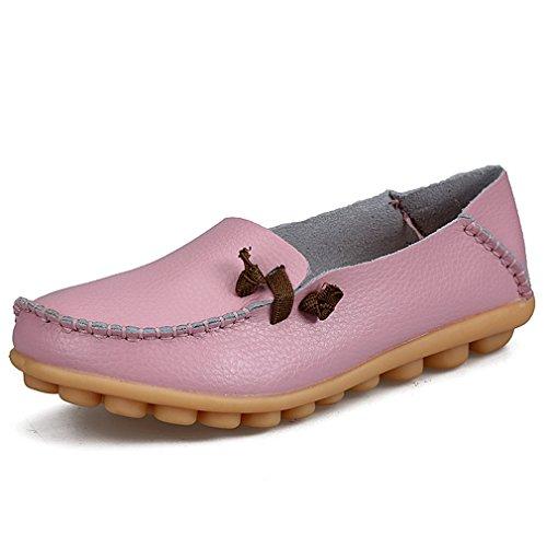 Bridfa Zapatos de mujer de cuero genuino Mujer Pisos ocasionales Mocasines de la madre Calzado de conducción de mujeres Zapato de barco sólido Rosa