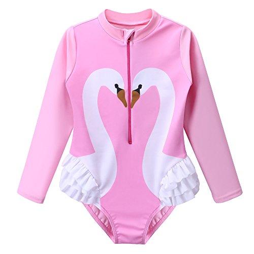 TFJH E Kids Girls Rashguard Swimsuit UV 50+ Long Sleeve One Piece Swimming Costume Pink Swan 140/146 -
