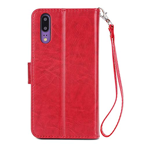 9 Flip Cuir Case Supporter Grand Yobby et Or Stand Dtachable Classique Rouge Coque Carte Huawei Dragonne Poche P20 P20 pour avec Slots Couches Huawei Housse Portefeuille 3 tui TOfw7O