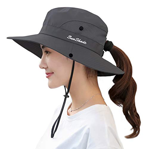 Women's Sun Hat Outdoor UV Protection Foldable Mesh Bucket Hat Wide Brim Summer Beach Fishing Cap Pure Grey -