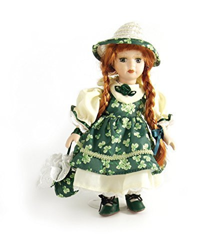 Carrolls Irish Gifts 8'' Jenny Standing Porcelain Doll With Green Shamrock Dress by Irish Gifts