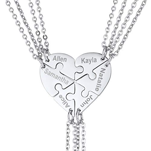 U7 BFF Necklace for 2/3/4/5/6 Stainless Steel Chain Personalized Family Love/Friendship Jewelry Set Free Engraving Heart Pendants (Set of 6 Stainless Customized)
