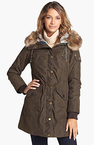 1 Madison Expedition Faux Fur Trim Parka Coat Jacket- Dark Olive, Size XL