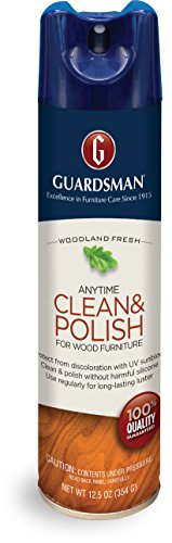 Guardsman Clean & Polish For Wood Furniture - Woodland Fresh - 12.5 oz - Silicone Free, UV Protection - (Guardsman Furniture Protection)
