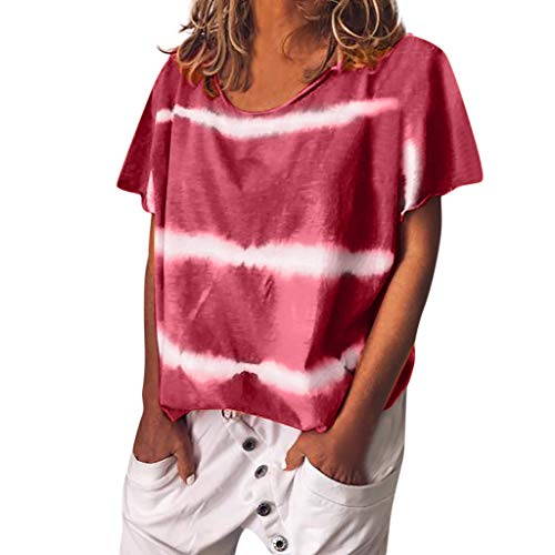 (POQOQ T-Shirt Blouse Tie-dye Print Women Short Sleeved O-Neck Tunic Tops Red)