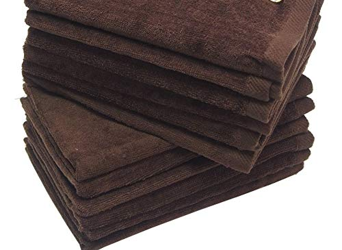 Show Car Guys 4 Pack 11 x18 Brown Fingertip Towels 100% Cotton- Terry-Velour