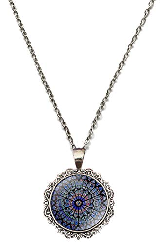 Victorian Vault Notre Dame Paris Rose Window Steampunk Art Gothic Pendant Necklace]()