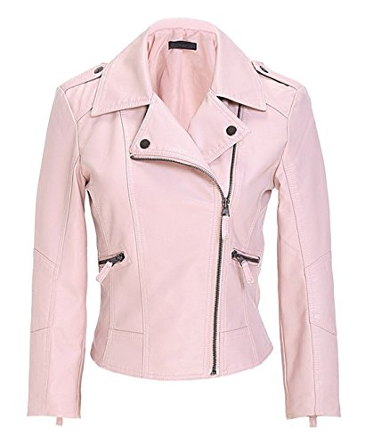 Chartou Women's Retro Washed Slim Fit Faux Leather Moto Bomber Jacket (X-Large, Pink)