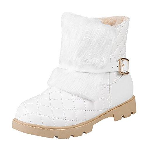 Women's Buckles Snow White Warm Shine Chunky Show Boots Heel q1BApOw