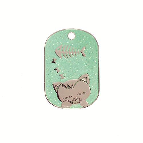 Katzenmarke Grün inkl gravur und schnellen kostenfrei Lieferung (Bieten Sie Ihren Gravur Anweisungen als Geschenknachricht)