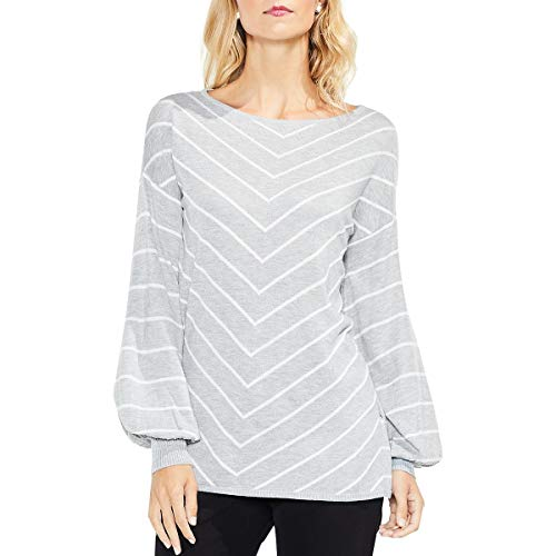 VINCE CAMUTO Womens Long Sleeve Chevron Intarsia Sweater Light Heather Grey XL One Size