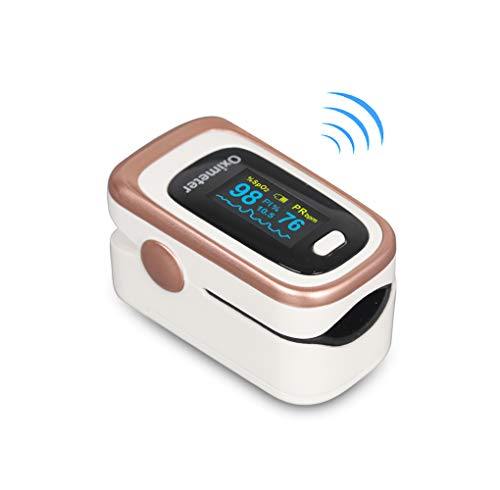 Finger Pulse Oximeter -Blood Oxygen Saturation – Athletic and Aviation Pulse Oximeters, Respiratory Rate, PI Sleep Monitor, Batteries and Lanyard (Sleep Monitor – Rose Gold + White)