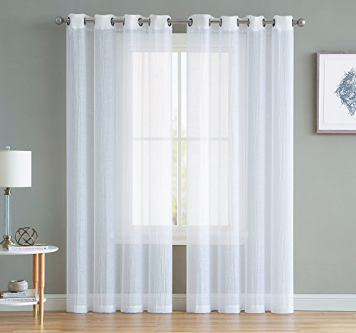 Sara - Crushed Semi Sheer Grommet Curtains - 2 Pieces - Super Soft and Stylish - 84 Inch Long - Total 108 Inch Wide - Add Beauty to Any Window in Home or Office (54