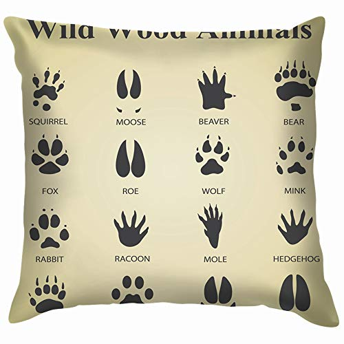 - Set Wild Wood Animal Tracks Animals Wildlife Track Cotton Linen Home Decorative Throw Pillow Case Cushion Cover for Sofa Couch 12X12 Inch