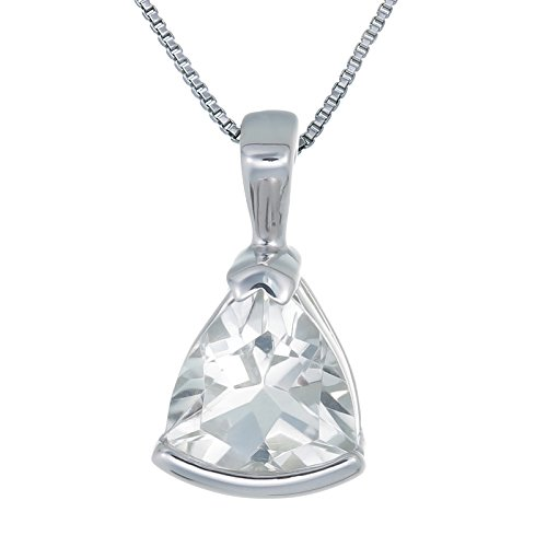 Sterling Silver Green Amethyst Pendant (1.40 CT) With 18 Inch Chain