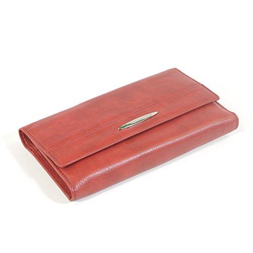 Deluxe Womans Wallet - Deluxe Checkbook Wallet - RFID Blocking Ladies Wallet - RFID Wallet for Women (Red)