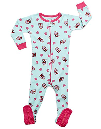 Leveret Kids Owls Baby Girls Footed Pajamas Sleeper 100% Cotton (Size 12-18 Months)