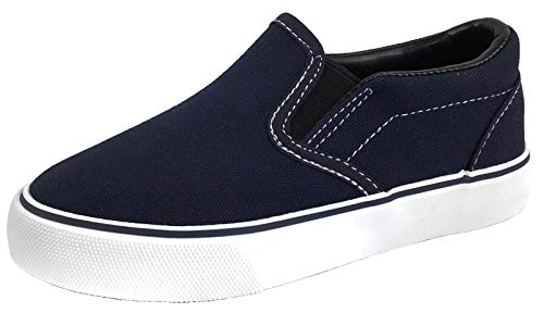 - Kid's Classic Slip On Canvas Sneaker Tennis Shoes, 2926 Navy 1 US Little Kid