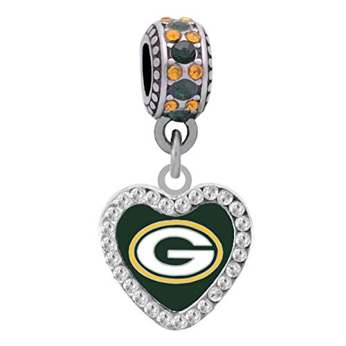 Final Touch Gifts Green Bay Packers Rhinestone Heart Charm Fits European Style Large Hole Bead ()
