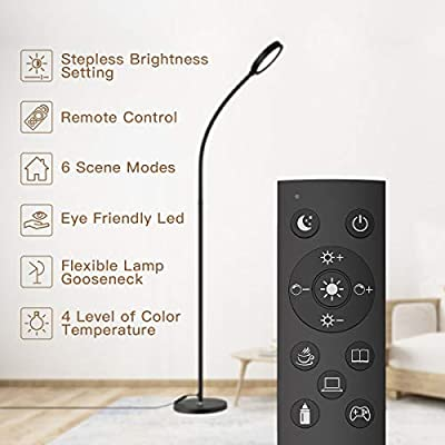 Floor Lamp, dodocool Remote & Touch Control Floor Lamp and 4 Color Adjustable Standing Lamp with Stepless Touch Dimmer, 2500K-6000K Flexible Standing Light for Living Room, Bedroom, Office, Reading