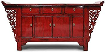 China Kommode Rot 177 Cm Asiatisches Sideboard Massiv Holz