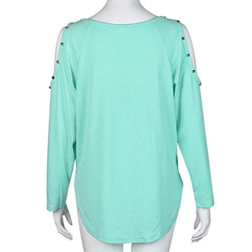 Transer ® Chemisier Femme, Mignonne femmes Off épaule manches longues Rivet Couleur unie Tops Shirt Blouse Vert(S-XL)