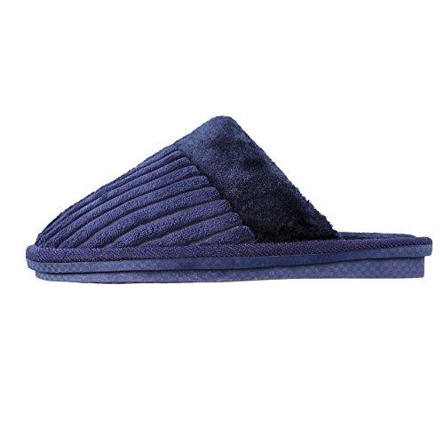 TRUEHAN Men House Indoor Slippers Winter Plush Soft Warm Lightweight Velvet Home Shoes (Tag Size 44 / UK9 10 D(M) US, Blue) by TRUEHAN (Image #3)