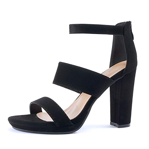 (Guilty Shoes Womens Platform Ankle Strap High Heel - Open Toe Sandal Pump - Formal Party Chunky Dress Heel Sandals (8 M US, Blackv2 Nub))