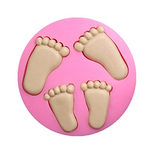 SaSa Design Baby Feet Silicone Mold,Soap Clay Fimo Chocolate Sugarcraft Baking Tool DIY Cake Silicone Mold for Baby Shower Party Birthday Party Cake Decoration (Baby Feet)