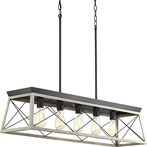 - Progress Lighting P400048-143 Briarwood Graphite Five-Light Linear Chandelier,