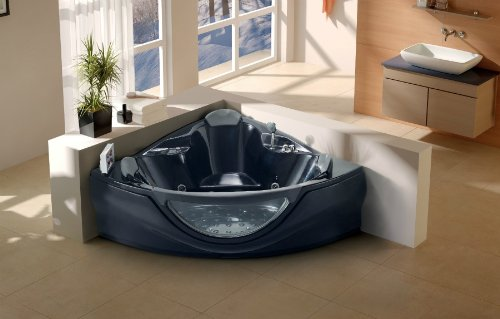 Wonderful 2 Person Whirlpool Bathtub Computerized 14 Massage Jets Built In Heater  Corner Fitting SPA Hot Tub TV FM MP3 CD Venezia Black   LT 657 BK   Buy  Online In ...