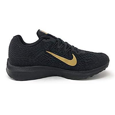 Nike Women's Air Zoom Winflo 5 Running Shoe, Black/Metallic Gold-Anthracite, 6.5 | Road Running