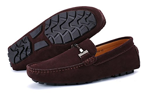 2 Coffee Slip Dress Loafers Penny On Boat Drivers Flats Driving Shoes Moccasins Suede Leather Tour Casual Go Men's naxPwP