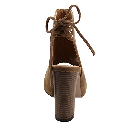 1 Taupe Booties Marcy High Chase amp; Out Ankle Chloe Lace Womens Up Back Heel Block Cut wZaApt