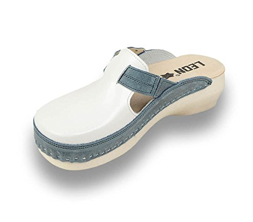 Leon PU153 Komfortschuhe Lederschuhe Pantolette Clog Damen Blau
