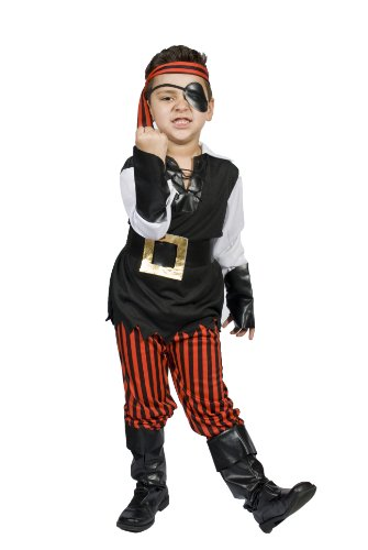 [Kids Child Boys Pirate Halloween Costume, Size M 5,6,7,8 Years Old, Ahoy Matey!] (Pirate Costumes Boot Covers)