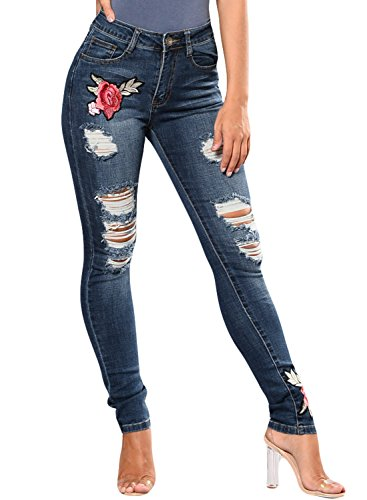 HOTAPEI Womens Skinny Jeans High Waisted Distressed Ripped Embroidery Jeans For Women Navy Blue - Latest Ladies Trends For