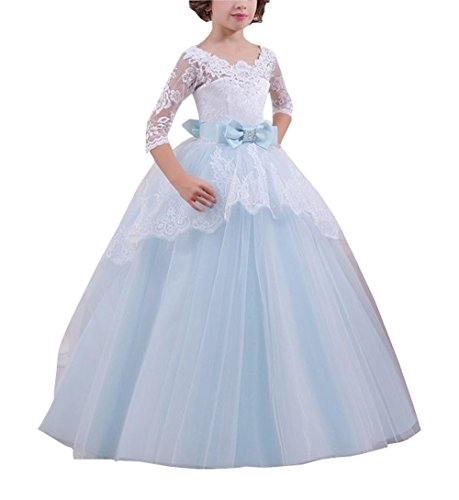 Sheer 3/4 Long Sleeve Girls Party Dresses Bows Layers Beaded Tulle Flower Girl Dresses for Wedding Ice Blue 11 ()