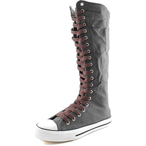 Dailyshoes Tela Donna Stivali Alti Metà Polpaccio Casual Sneaker Punk Flat, Stivali Grigi, Hot Brown Lace