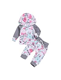 HEFEITONG Baby Clothes Set Floral Pullover Sweatshirt Hoodie Pants Children Outfit