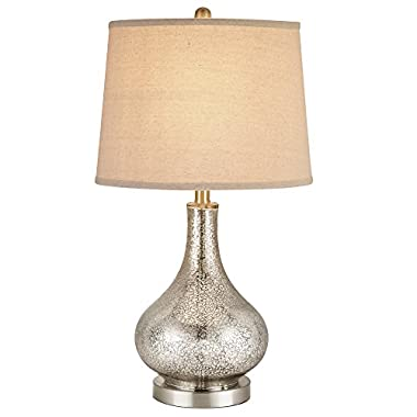 Catalina 19560-000 3-Way 24-Inch Mercury Glass Gourd Table Lamp with Beige Linen Drum Shade, Brushed Nickel