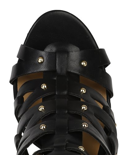 Breckelle Bk35 Femme Similicuir Clouté À Bout Ouvert Sandale Stiletto Talon, Noir
