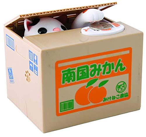 OVVO Gatto salvadanaio, Animal Stealing Coin salvadanaio Risparmio di Denaro Box –  Bianco (Stile Giapponese) Animal Stealing Coin salvadanaio Risparmio di Denaro Box-Bianco (Stile Giapponese)